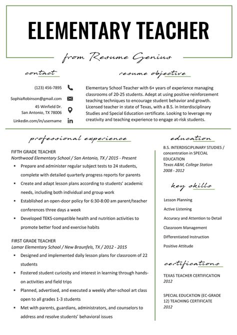 elementary teacher resume samples writing guide resume