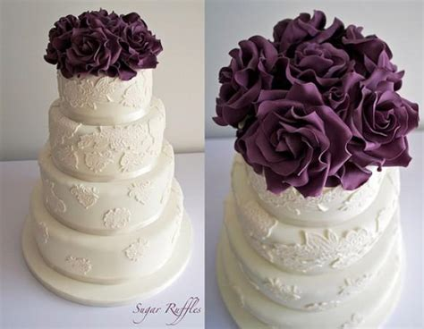 Ivory Lace With Deep Purple Roses