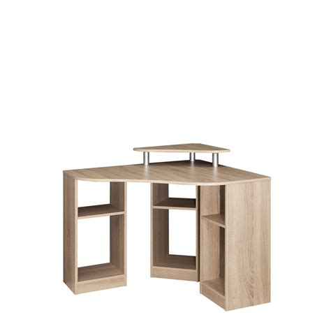 petit bureau d angle meuble bas finition chêne grisé 4 portes 1 tiroirs elba