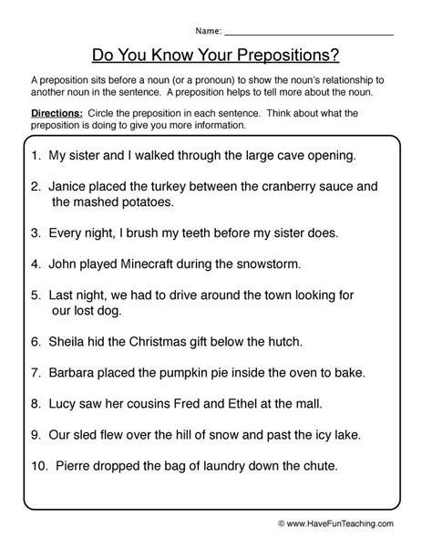 find prepositions worksheet  images preposition