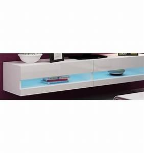 Meuble Tv Suspendu Led : meuble tv vigo 180 noir ou blanc s jour meuble tv ~ Melissatoandfro.com Idées de Décoration