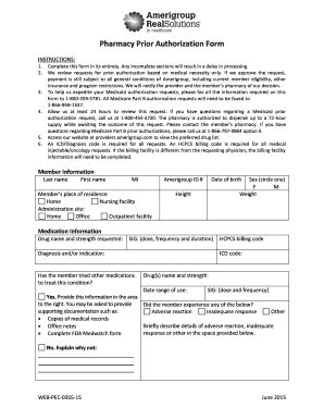 amerigroup authorization request fill printable