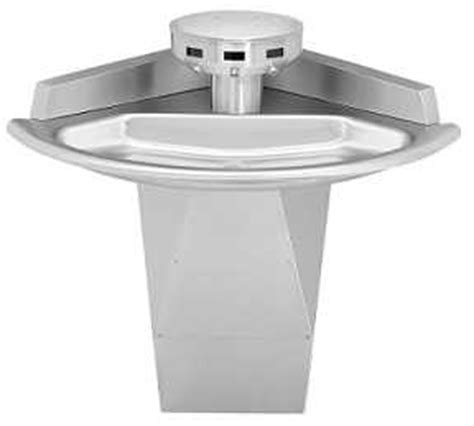"Bradley Sn2033 Shallow Bowl Sentry Washfountain, 54"" Corner, Wallmounted, Stainless Steel"