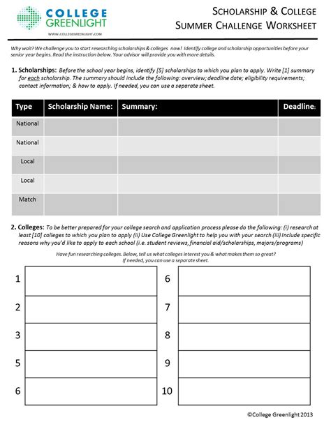 college selection spreadsheet college search worksheet wiildcreative
