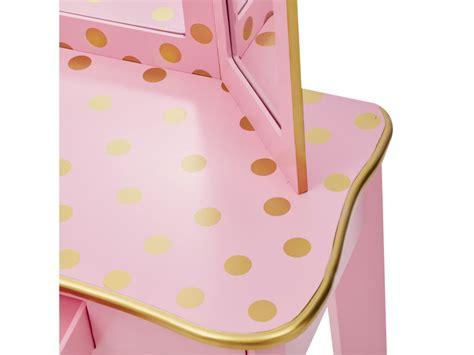 ensemble coiffeuse  tabouret  rose avec miroir pour