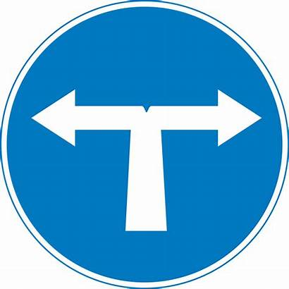 Left Right Sign Road Svg Mandatory Cyprus