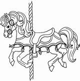 Carousel Horse Coloring Pages Pony Template Horses Carnival Adults Getcolorings Printable Realistic Tocolor sketch template