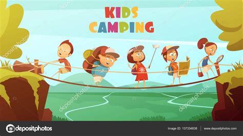 summer camp flyer template campamento de niños de fondo archivo imágenes