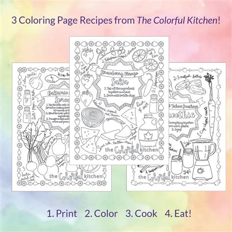 colorful kitchen recipe coloring pages  colorful