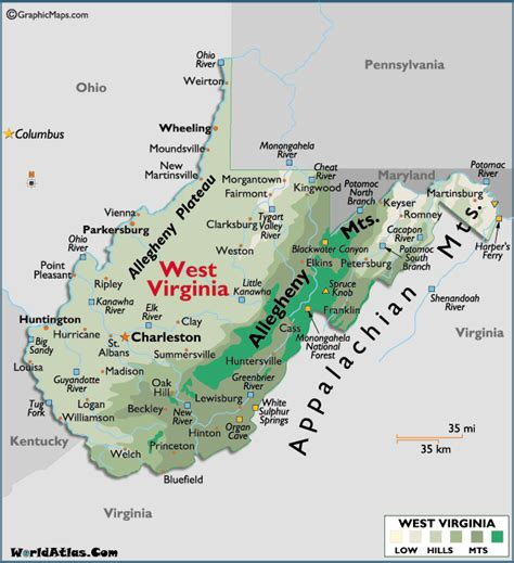 map  west virginia large color map