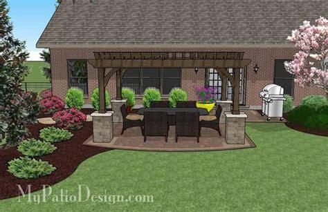 simple paver patio design with pergola plan