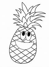 Pineapple Coloring Cartoon Fruit Fruits Apple Printable Preschool Template Pine Crafts Boyama Worksheets Patterns Toddler Kindergarten Drawings Colouring Templates Sheets sketch template