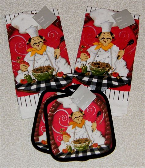 Italian Chef Kitchen Wall Decor by Pc Chef Bistro Decor Kitchen Towels Pot Holder Set New