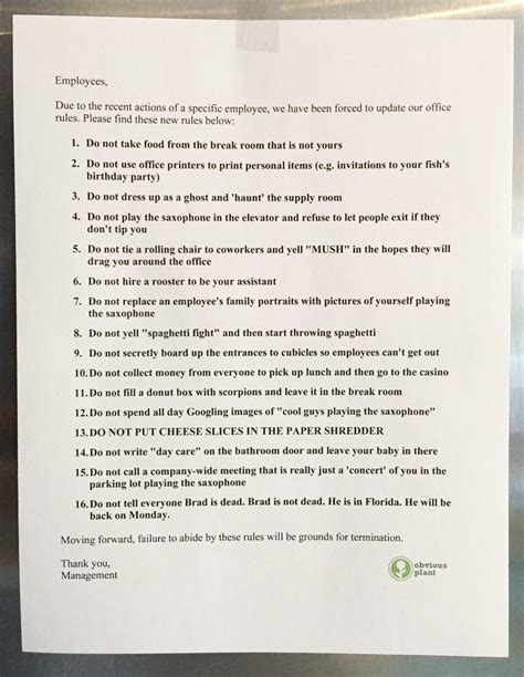 I Left Some New Office Rules in the Break Room of an