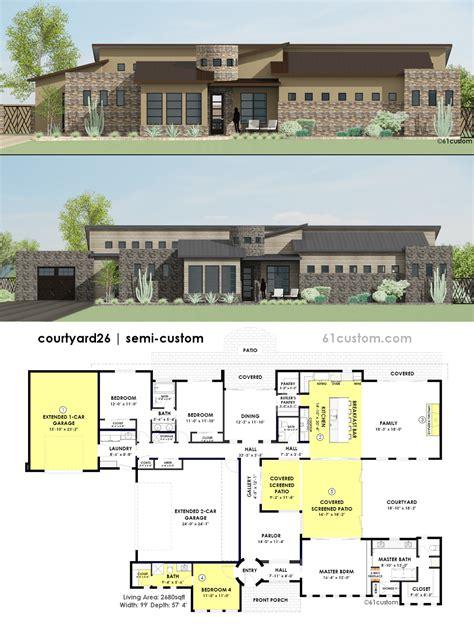 contemporary side courtyard house plan custom