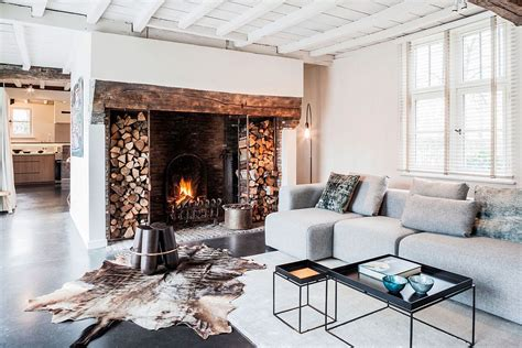 farmhouse fireplace synergy of contrasting styles farmhouse renovation in belgium Modern