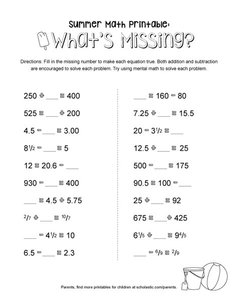 summer math printable whats missing worksheets