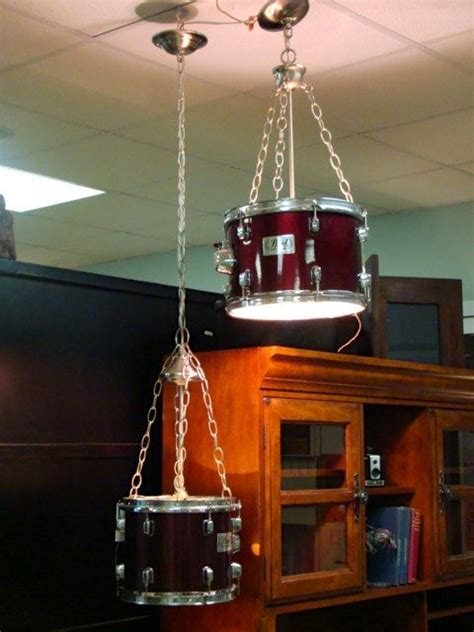 suspended lighting from upcycled pearl drums the worley gig