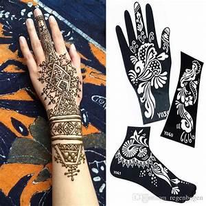 Henna Tattoo Schablonen : temporary tattoo schablonen mehndi henna tattoo schablone schwarzen henna t towierung f r k rper ~ Frokenaadalensverden.com Haus und Dekorationen