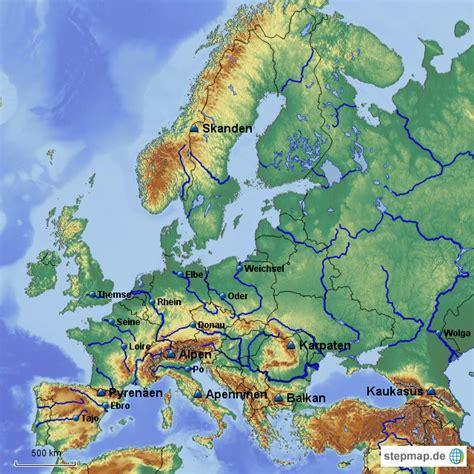 karte fluesse gebirge europas