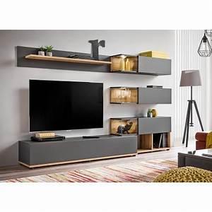 Meuble Tv Design Bois : ensemble meuble tv mural anthracite et bois cbc meubles ~ Melissatoandfro.com Idées de Décoration