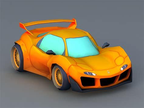 cartoon sports car  model object files
