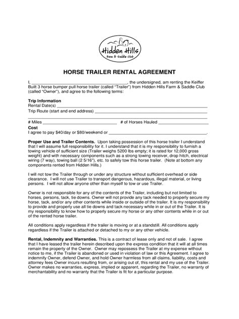 desk rental agreement template trailer rental agreement 6 free templates in pdf word