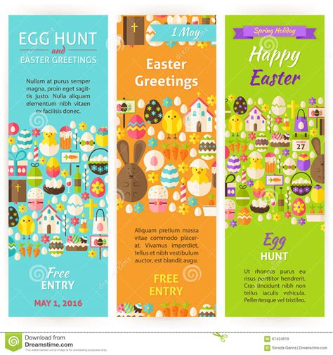Easter Holiday Vector Invitation Vertical Flyer Set Stock