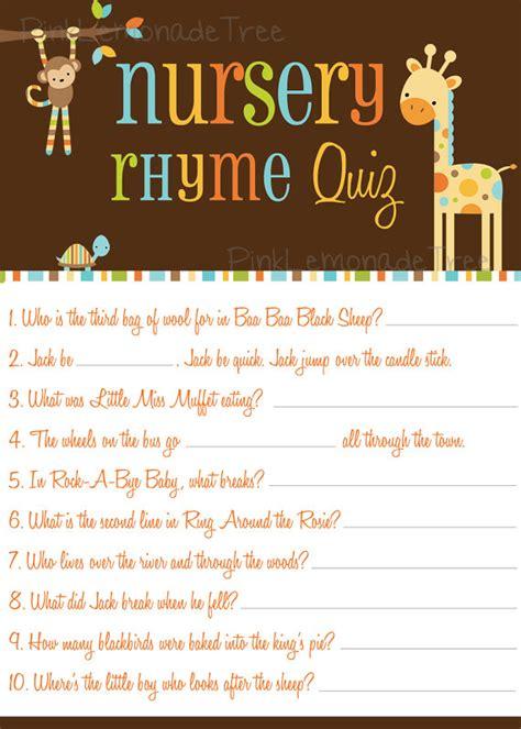 safari animals nursery rhyme quiz game instant