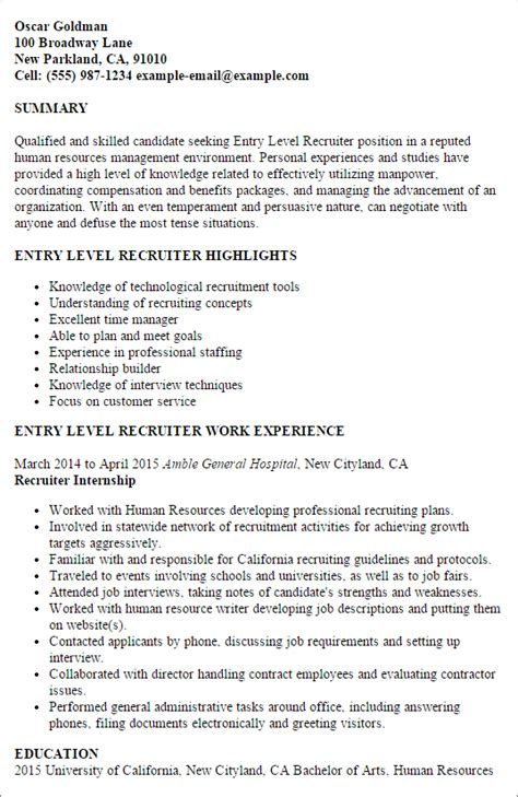 professional entry level recruiter templates to showcase