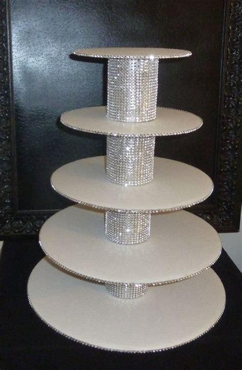 5 tier bling faux rhinestone white cupcake stand tower wedding cake pop display holder