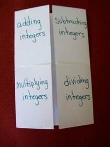 integers foldable   Math-Integers, Negative Numbers ...