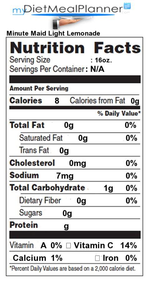 minute light lemonade calories nutrition facts label popular chain restaurants 52