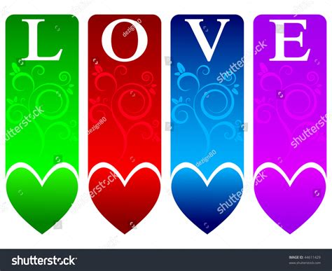 Colored Love Banners Stock Vector 44611429  Shutterstock. Communism Murals. Smackdown Live Logo. Toyota Tacoma Decals. Risk Signsheat Exhaustion Signs. Walk Signs. Monogrammed Stickers. Sidebar Banners. Barrel Racing Stickers