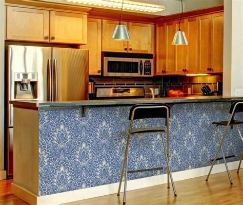 Kitchen island sure is an optional item in your kitchen. Use removable wallpaper on your kitchen breakfast bar ...