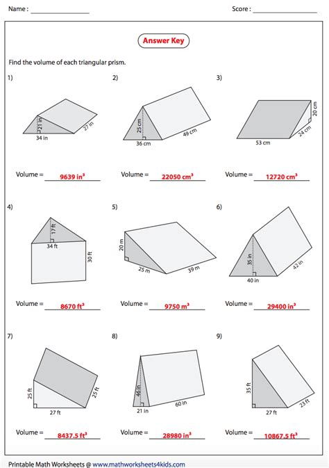 triangular prism volume worksheet with answers