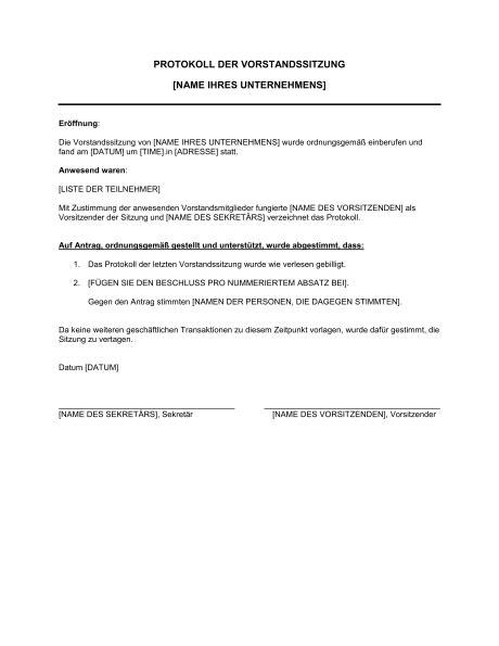 protokoll der vorstandssitzung vorlagen und muster