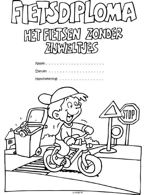 Kleurplaat Fietsdiploma by Kleurplaat Fietsdiploma Zonder Zijwieltjes