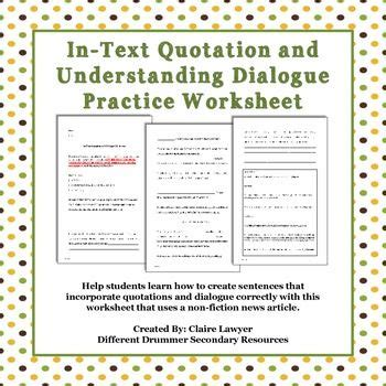 in text quotation and dialogue worksheet student the