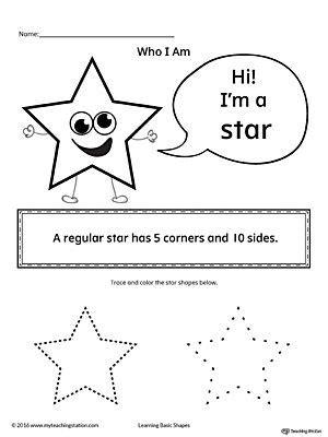 learning basic geometric shape star shapes worksheet