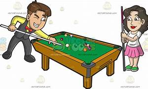 A Man And Woman Playing Pool Cartoon Clipart - Vector Toons