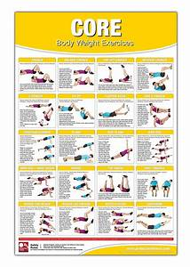 Bodyweight Training Poster  Chart Core  Body Weight Training - No Equipment Workout