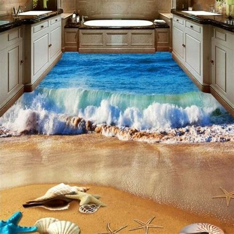 3d Epoxy Wallpapers by Piso Pvc 3d Auto Colante Mar Oceano Praia Golfinho Onda