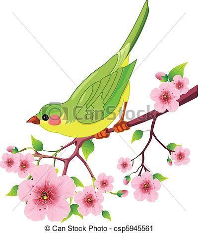 Pájaro primavera Lindo pájaro sentado en una rama de