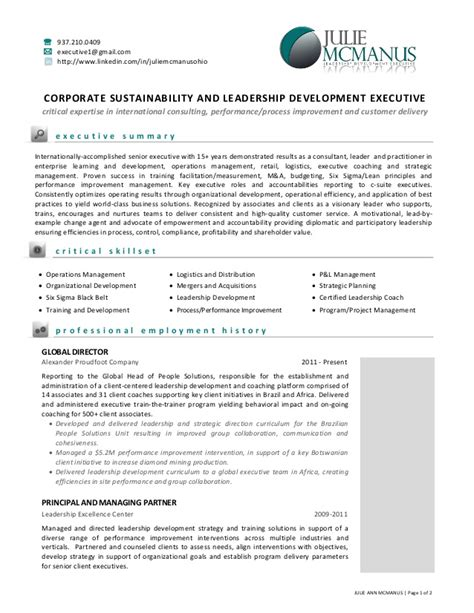 Sustainability Resume by Resume Of Julie Mcmanus Leadership And Sustainability Executive