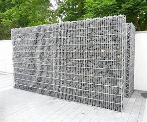 Gabion bin storage area with basalt stone filling - Modern