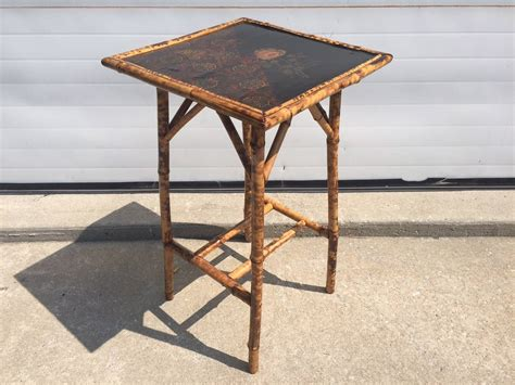 vintage bamboo side table antique chinoiserie lacquered scorched bamboo side table