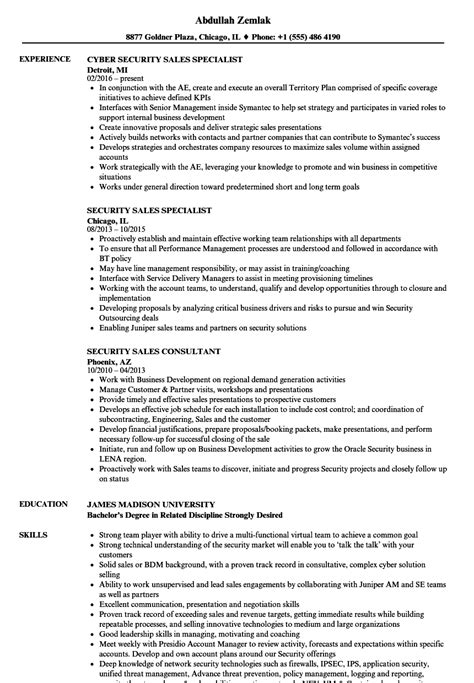 Security Resume Sles security sales resume sles velvet