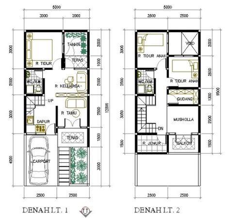 bentuk rumah sederhana ukuran    lantai