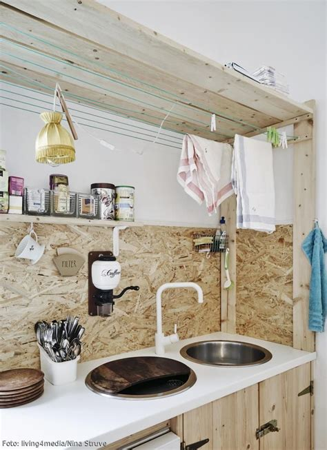 Holzplatte In Der Küche by Selbstgebaute K 252 Chenzeile Aus Osb Platten Garten K 252 Che